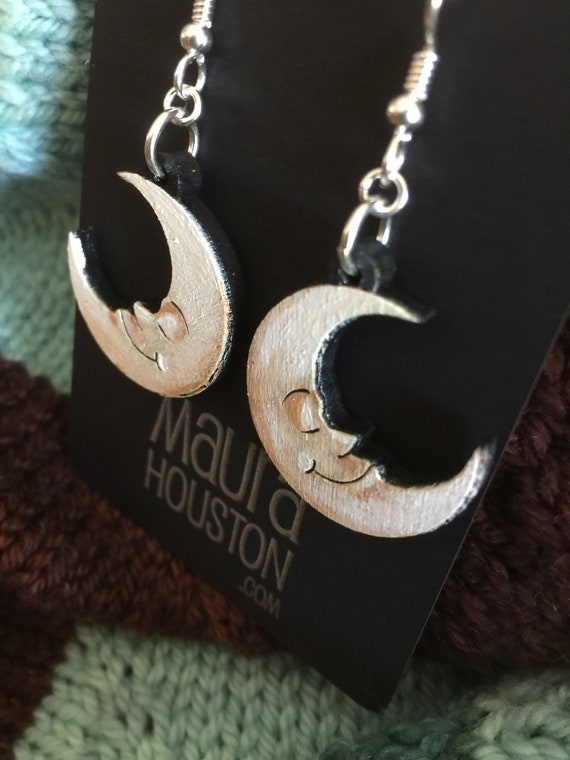Crescent Moon Earrings that are laser cut and hand painted to gift the illusion of 3D // gifts for her // gifts for astronomers