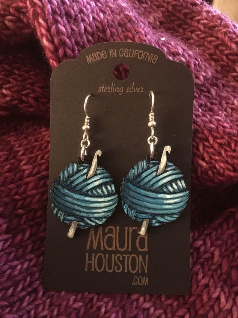Yarn Ball with Crochet Hook Earrings Blue
