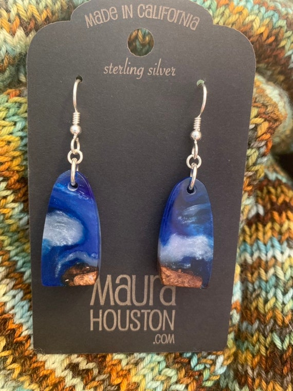 Hand carved resin and wood earrings // gifts for her