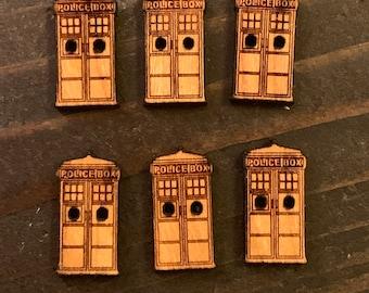 "Set of 6 small .75"" Tardis Buttons"