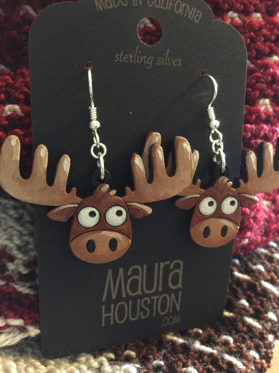 Moose Earrings (Large), laser cut out solid wood and hand painted to give the illusion of 3D// gifts for her