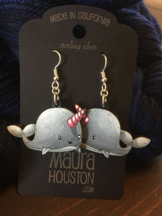Narwhal Earrings that are laser cut and hand painted to gift the illusion of 3D // gifts for her