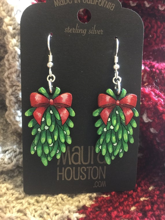 Mistletoe Earrings that are laser cut and hand painted to gift the illusion of 3D // gifts for her // christmas gifts for her