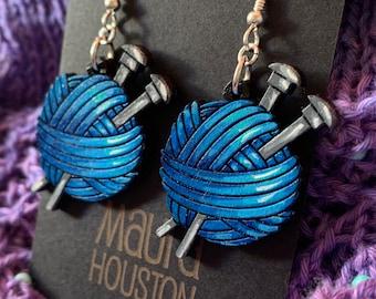 Yarn Ball with Knitting Needles Earrings