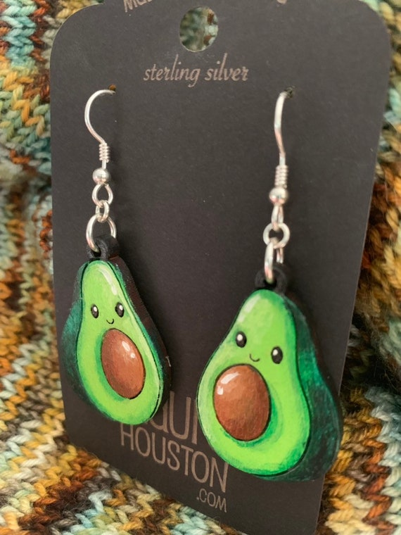 Happy Avocado Earrings that are laser cut and hand painted to gift the illusion of 3D // gifts for her