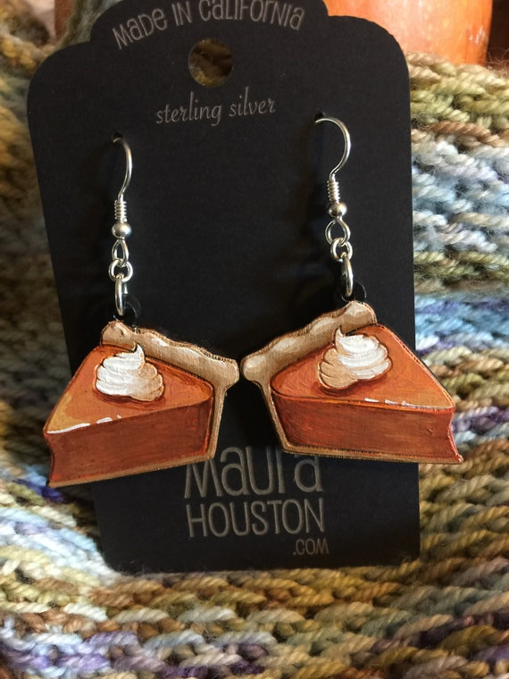 Pumpkin Pie Slice Earrings that are laser cut and hand painted to give the illusion of 3D // gifts for her // Fall