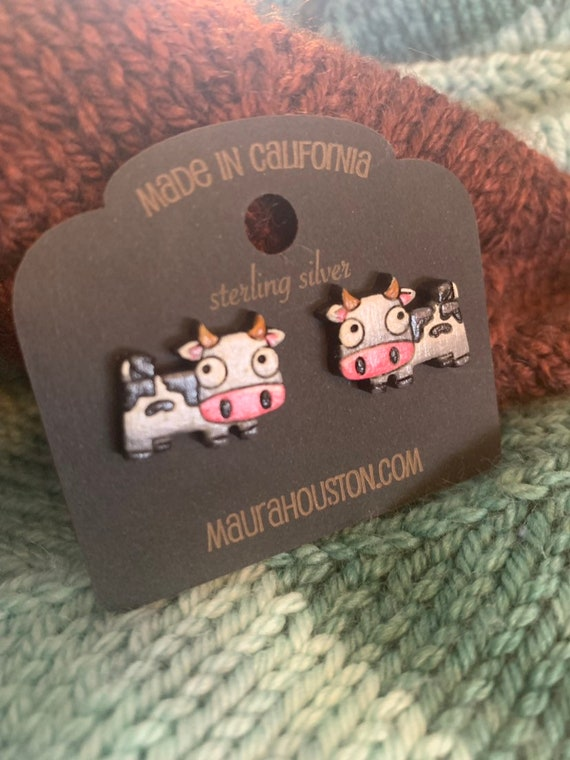 Cow Stud Earrings that are laser cut and hand painted to gift the illusion of 3D // gifts for her