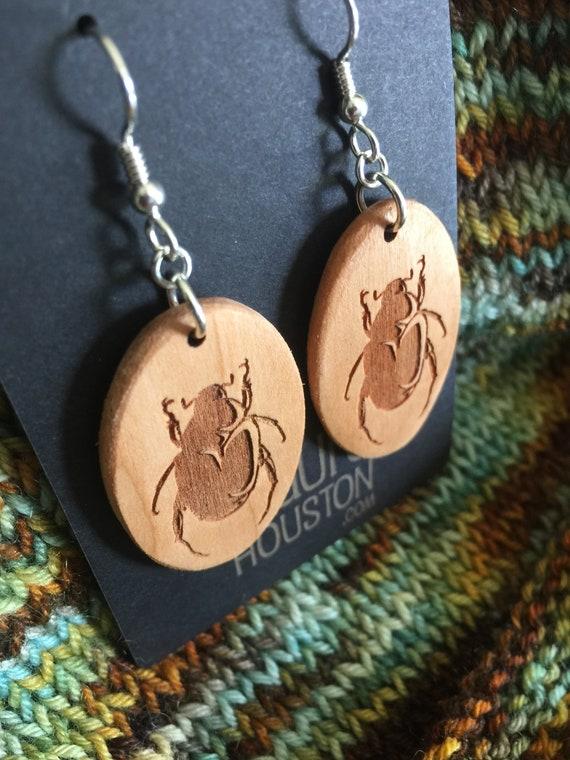 Wooden Beetle Earrings