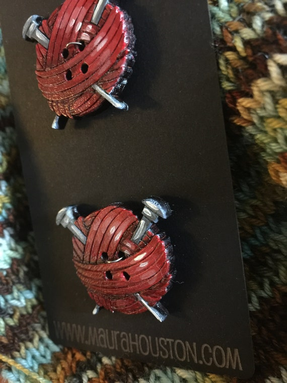 """Set of 2, 1"""" Yarn Ball with Knitting Needles Buttons"""