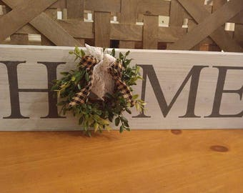 Mini Home Sign with Farmhouse bow ~ Rustic ~ Shiplap