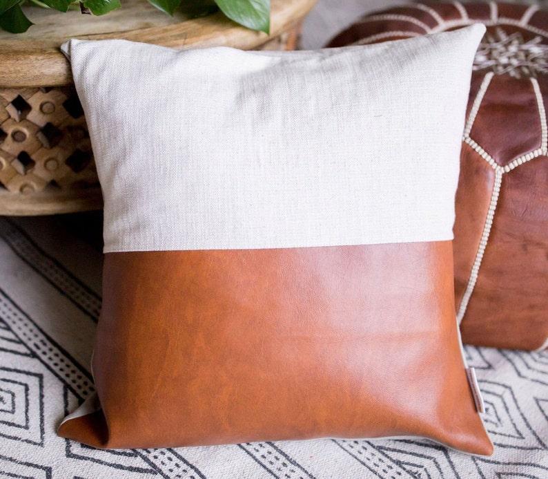 Cognac  Cream Faux Leather Pillow Cover image 0