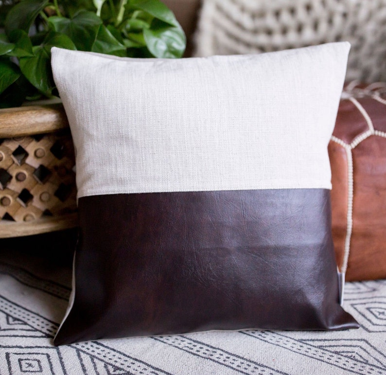 Dark Brown  Cream Faux Leather Pillow Cover image 0