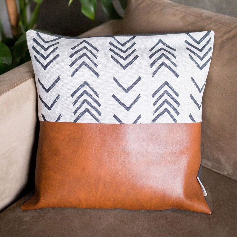 Cognac  Mud Cloth Faux Leather Pillow Cover image 0