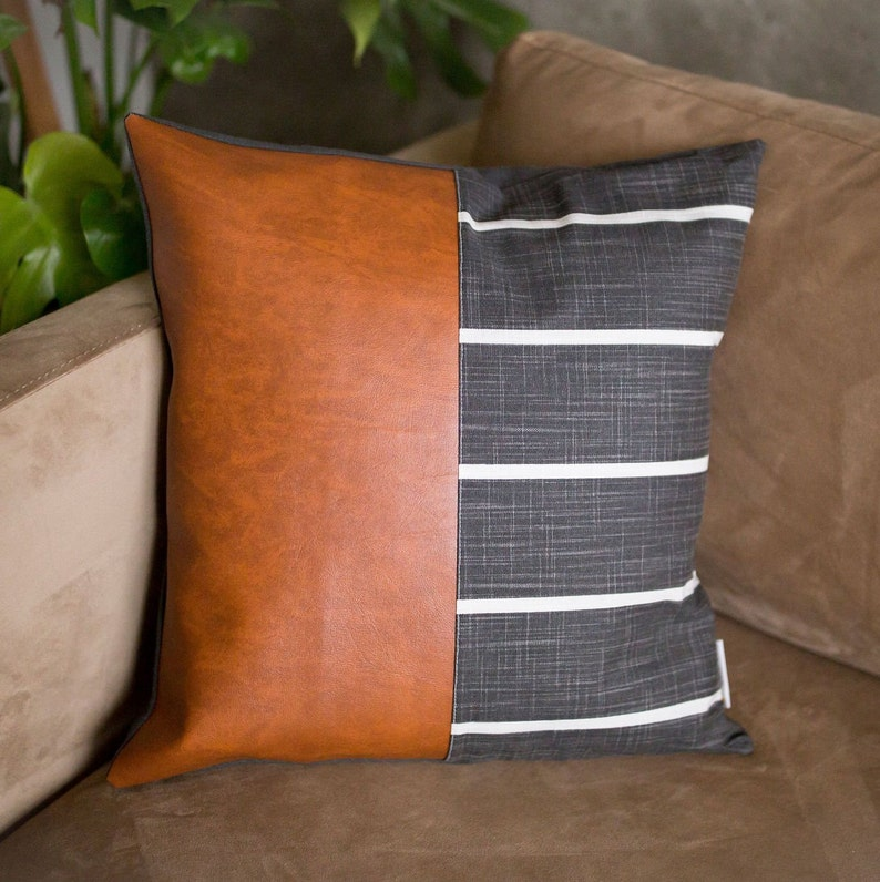 Cognac  Windridge Ink Faux Leather Pillow Cover image 0