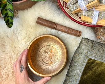SINGING BOWL Metal Hand Etched Golden Detail Mantras Sound Therapy