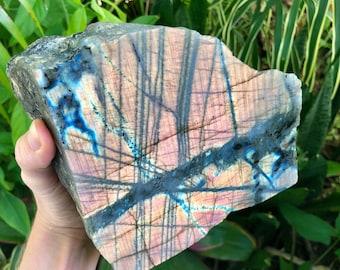 LABRADORITE 7 RAINBOW SLAB Free Standing Crystal Orb Gem Stone Crystal & Energy Enhancing Metaphysical