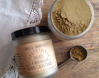 AMRITA: IMMORTALITY Shilajit & Moringa Leaf Reishi Green Herbal Chocolate Cacao Elixir Tea Powder