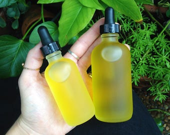 YONI BREAST & BODY Oil : Calendula + Lemon Balm Gentle Relaxing Soothing Herbal Gemstone Moisturizing Body + Breast Vegan Massage Drizzle