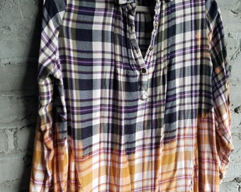 9cb049521ad4a DISTRESSED FLANNEL SHIRT plaid unisex Faded Worn Womens Large swing top