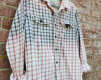 DISTRESSED FLANNEL SHIRT plaid unisex Faded Worn Mens Large