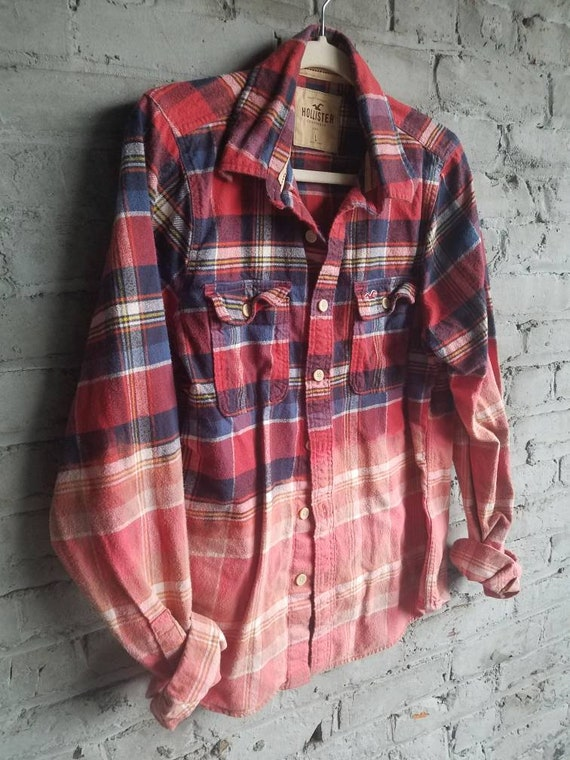 Distressed Flannel Shirt Plaid Unisex Faded Worn Mens Large Etsy