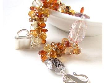 Lepidochrocite, Citrine, Garnet, Oregon Sunstone, Andalusite bracelet