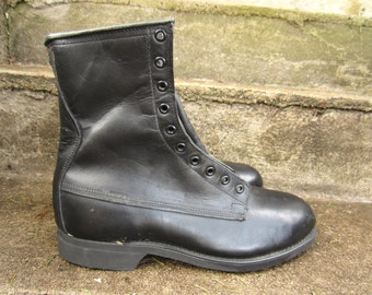 Vintage 1980 Black Leather Combat Steel Toe Boot Addison Shoe Company New Old Stock 9 1/2