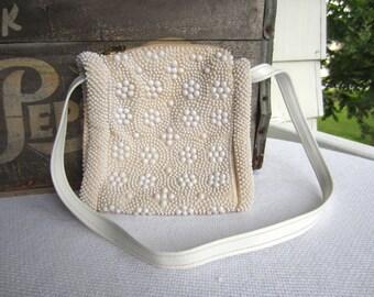 Vintage White Beaded Purse made in Hong Kong Shoulder Purse Handbag