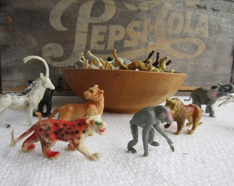 Vintage Zoo Wild Animals Plastic Animals Made in Hong Kong