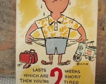 Vintage 1959 Vacation Humor Cartoon Postcard