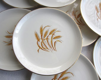Vintage Homer Laughlin Golden Wheat Luncheon Plates made in USA
