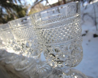 Vintage Diamond Stemware Wexford Pattern Claret Wine Goblet Glasses by Anchor Hocking