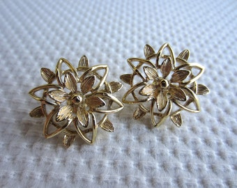 Vintage Flower Gold Tone Earrings Open Work Sarah Coventry Clip On