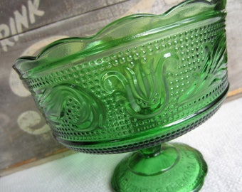 Vintage Green Glass Pedestal Compote E. O. Brody Glass Bowl Dish