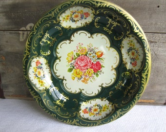 Vintage Green and Gold Floral Daher Tin Bowl
