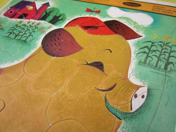 Vintage 1964 Fuzzy Wuzzy cochon Whitman Frame Plateau Puzzle pépinière Decor