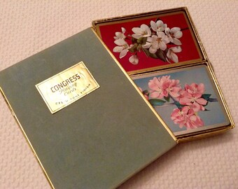 Vintage Flowers Playing Cards 2 Decks White Pink Silver Gold Trim Congress Playing Cards