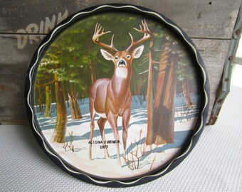 Vintage Deer in the Forest Metal Serving Tray James L. Artig