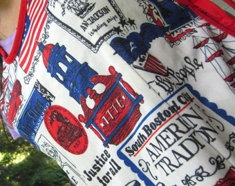 Vintage Fourth of July Smock Apron American Spirit Flag