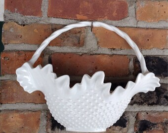 Vintage Faux Milk Glass Wall Pocket Wall Decor Hobnail Plastic Bridal Basket