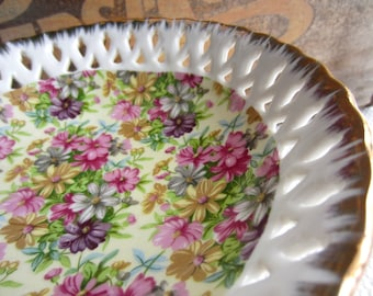 Vintage Floral Chintz Reticulated Pedestal Bowl with Gold Trim made in Japan
