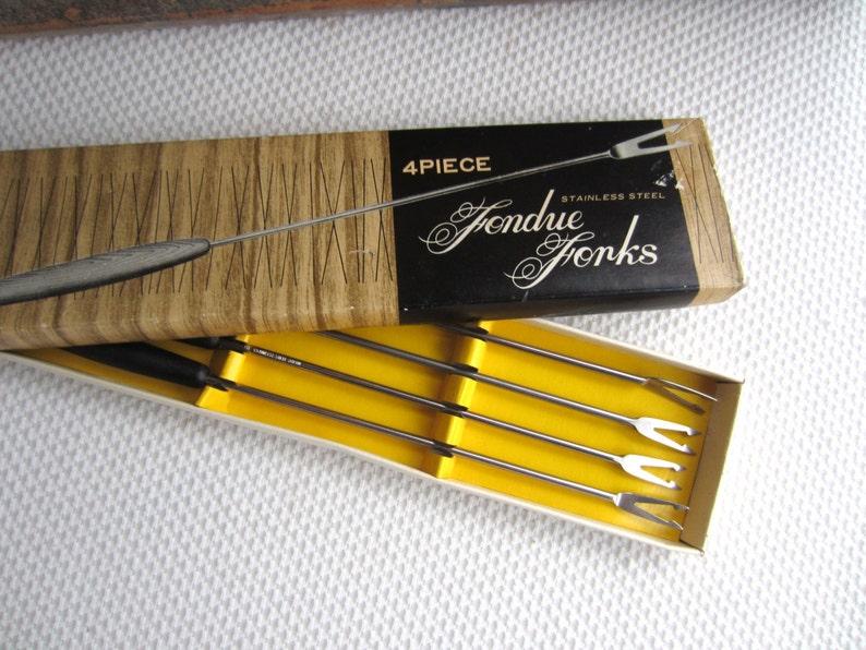 Vintage Fondue Forks Color Tips Black Stainless Fork Japan