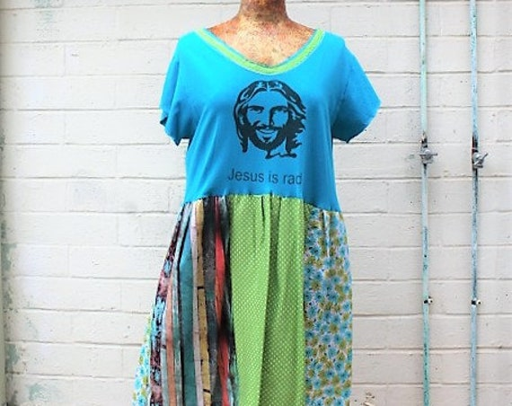 Large Jesus Babydoll Dress/Upcycled Clothing/Christian Dress/Jesus is Rad Dress/boho dress/Church Camp dress/Jesus Christ dress