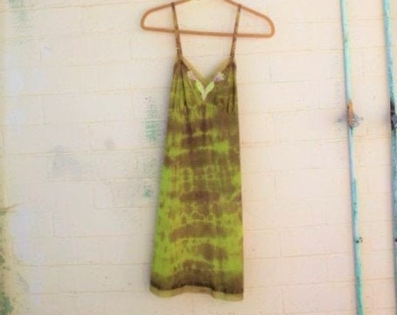 Small Tie Dye Sundress/Ombre Dress/Funky Eugene/Tie Dye Dress/Green Earth Dress/Earth Day Sundress/Tie Dye Sundress/Music Festival Clothing