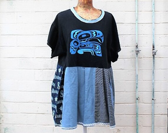 Seattle Mariners Dress/Duwamish  nj8Babydoll Dress/Mariners Baseball Dress/Babydoll Dress/Upcycled Clothing/summer baseball dress/Summer
