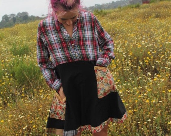 Large Farm Babydoll Dress/Upcycled Clothing/Cotton Country Dress/Shabby Chic Dress/Cowpunk dress/Charlottes Web Dress/Farm to table Dress
