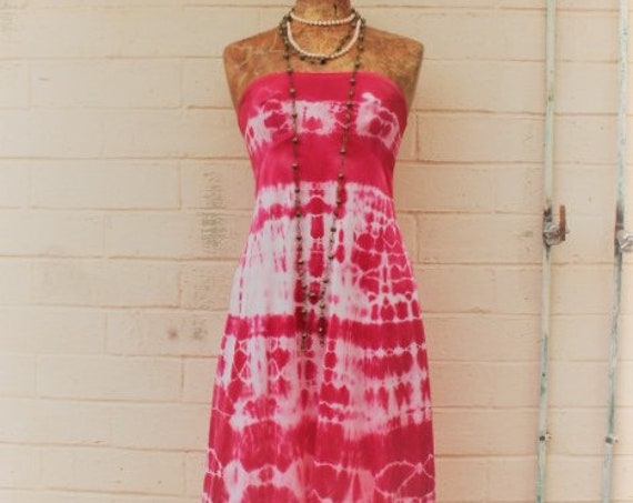 Med Strapless Dress/Tie Dye dress/Pink Wedding/Music festival/Tie Dye Sundress/Mermaid Dress/Hippie Chic/Free People/Bonarroo Clothing