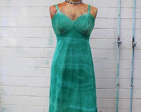 Medium Tie Dye Slip dress/Romantic Fairy Dress/Fairy/Hippie Clothing/Hippie Dress/Fairy Dress/Green Teal Sundress Dress/Vintage Slip dress