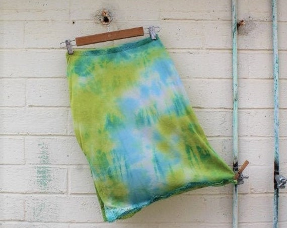 Small Sea Green Slip Skirt/Tie Dye Skirt/Vintage Skirt/Upcycled Clothing/Upcycled Clothing/Slip Skirt/Woodland Fairy/Grateful Dead/Mermaid