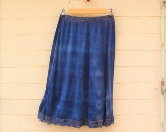 Medium Blue slip skirt/Tie Dye Skirt/Blue Fairy Skirt/Tye Dye Clothing/Hippie skirt/Repurposed slip dress/Skirt/Lucysroom/Music Festival